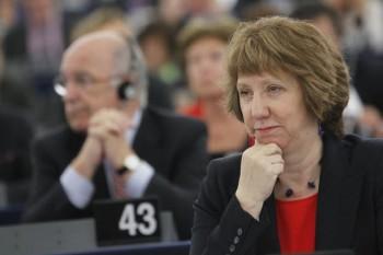 Catherine Ashton lors de la plénière du Parlement européen ce 11 septembre (crédit : Parlement européen)