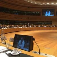 Le conseil des ministres des Affaires étrangères lors du débat sur Ebola (crédit : présidence italienne)