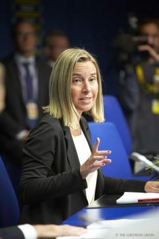 F. Mogherini le jour de sa nomination, le 30 aout au Conseil européen (crédit : Conseil de l'UE)